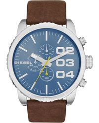 Diesel Mens Chronograph Double Down 20 Dark Brown Leather Strap Watch 51mm - Lyst