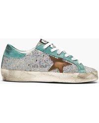 Golden Goose Deluxe Brand Silver Iridescent Scale Super Star Sneakers - Lyst