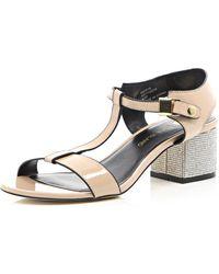 River Island Pink Diamante Heel Strappy Sandals - Lyst