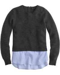 J.Crew Lambswool Shirttail Sweater in Blue - Lyst