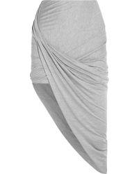 Helmut Lang Asymmetric Draped Jersey Skirt - Lyst