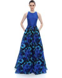Theia | blue Lapis Print Gown | Lyst