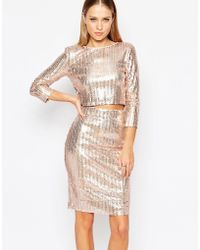 TFNC | All Over Sequin Crop Top With Long Sleeves | Lyst