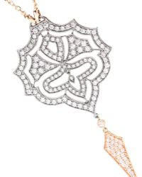 Stone - Passion 18kt Rose Gold Necklace With White Diamonds - Lyst