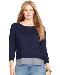 Lauren by Ralph Lauren Plus Layered Crewneck Sweater - Lyst