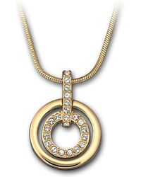 Swarovski Goldplated Crystal Circle Pendant Necklace - Lyst