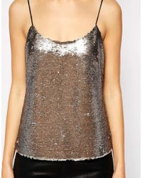 Ted Baker Cami Top With Sequin Front - Lyst