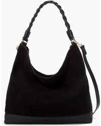 Zara Leather Bucket Bag with Braided Handle - Lyst