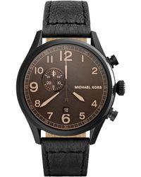 Michael Kors Hangar Leather-Strap Black Watch - Lyst
