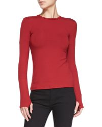Victoria Beckham Basic Long-sleeve Jersey Top - Lyst
