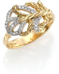 John Hardy Classic Chain Diamond & 18K Yellow Gold Small Feather Ring gold - Lyst