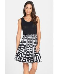 Plenty by Tracy Reese 'Amber' Print Skirt Fit & Flare Sweater Dress - Lyst