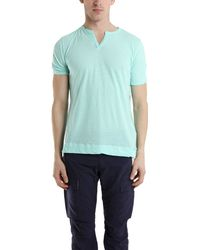 V::room Slit Neck Short Sleeve Tee In Mint Blue blue - Lyst