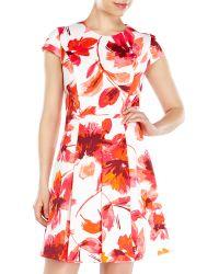 Vince Camuto White Floral Fit & Flare Scuba Dress - Lyst