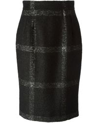Dolce & Gabbana Checked Pencil Skirt - Lyst