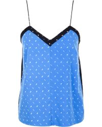 Tibi Metal Hatch Print Cami blue - Lyst