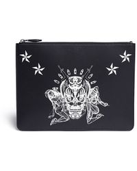 Givenchy Large Skull Print Leather Pouch - Lyst