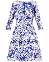 Oscar de la Renta Laceprint Satin Dress - Lyst