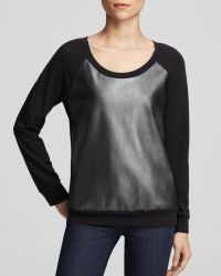 Splendid Sweatshirt Bloomingdales Exclusive Faux Leather French Terry - Lyst