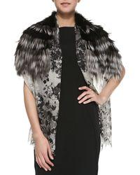 Roberto Cavalli Floral Cashmere  Fox Fur Stole - Lyst