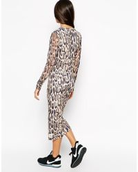 A Postcard From Brighton - Animal Print Long Sleeve Bodycon Dress - Lyst