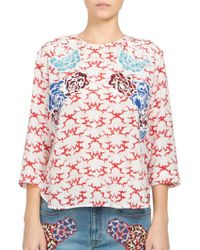 Stella McCartney Cloud Print Top red - Lyst