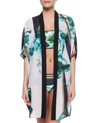 Clover Canyon - Liquid Jade Printed Open Coverup - Lyst