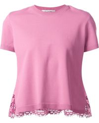 Valentino Floral Lace Panel Blouse - Lyst