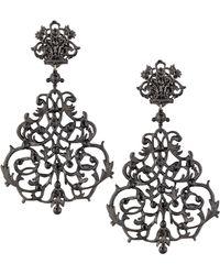 Jose & Maria Barrera Lace Scroll Chandelier Earrings - Lyst