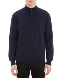 Barneys New York Zip Mock Neck Sweater - Lyst