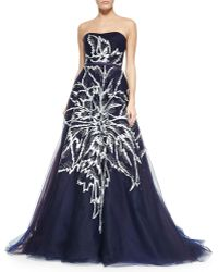 Carolina Herrera Strapless Floral-Embroidered Tulle Ball Gown - Lyst