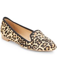 Ellen Tracy Ilena Leopard-print Calf Hair Smoking Slippers - Lyst