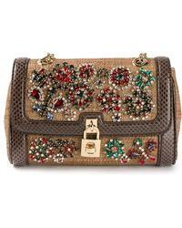 Dolce & Gabbana Embellished Woven Shoulder Bag - Lyst