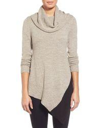 Curio - Colorblock Asymmetrical Cowl Neck Tunic Sweater - Lyst