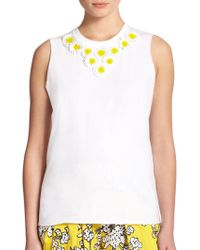 RED Valentino Embellished Cotton Jersey Top - Lyst