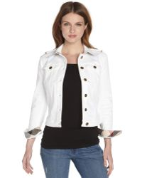 Burberry Brit White Stretch Cotton Blend Long Sleeve Jacket - Lyst