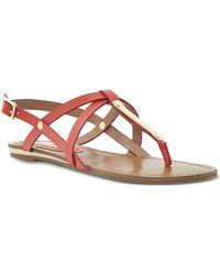 Steve Madden Henna Strappy Toe Post Sandals Coral-plain Synthetic - Lyst