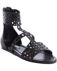 Prada Black Capretto Gladiator Leather Sandals - Lyst