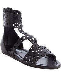 Prada Black Capretto Gladiator Leather Sandals - Lyst