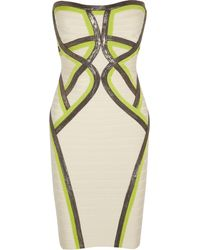 Hervé Léger Strapless Bandage Dress - Lyst