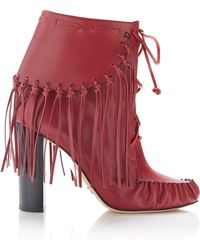 Elie Saab - Fringed Lace-up Bootie - Lyst