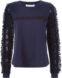 See By Chloé | Lace Sleeve Top Navy | Lyst