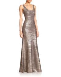 Hervé Léger Ellen Foil Bandage Gown silver - Lyst