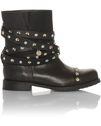 Patrizia Pepe Biker Boots In Leather With Studs And Rhinestones - Lyst