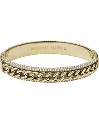 Michael Kors Gold Curbchainpave Bangle - Lyst