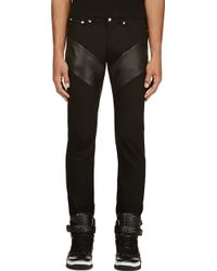 Givenchy Black Leather and Denim Jeans - Lyst