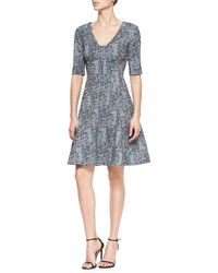 Lela Rose Reversible Elbow-Sleeve Fit-And-Flare Dress - Lyst