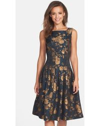 Cynthia Steffe Azura Floral-Lace Fit-And-Flare Dress black - Lyst