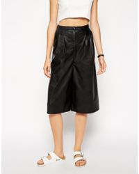 Asos Leather Look Culottes - Lyst