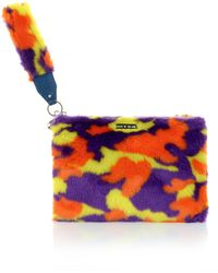 House Of Holland Hand Cuff Clutch Purple  Yellow Camo - Lyst